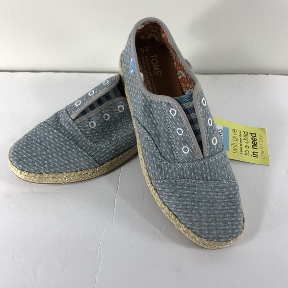 3258af0aefd TOMS Palmera Slip On Blue Chambray Loafers Sz 6